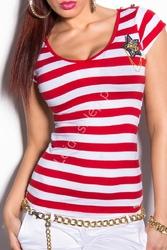 Koszulka w czerwone paski z gwiazdką w stylu marynarskim | bluzka z kotwicą