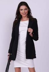 Czarny elegancki dłuższy żakiet bez zapięcia
