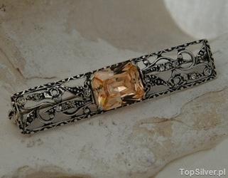 Aleros - srebrna broszka z topazem złocistym