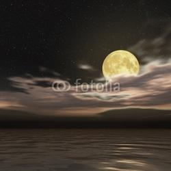 Obraz na płótnie canvas trzyczęściowy tryptyk gwiaździste niebo i księżyc w pełni
