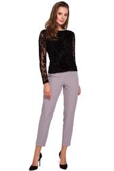 Elegancka czarna bluzka z aksamitnej koronki