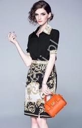 Elegancki dwuczęściowy zestaw bluzka i spódnica we wzory