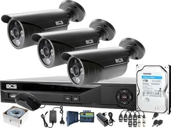 3x bcs-tq3803ir3-g zestaw do monitoringu 8 mpx po skrętce z podglądem nocnym: rejestrator bcs-xvr04014ke +dysk 1tb + akcesoria