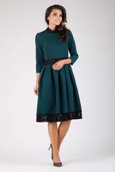 Zielona wizytowa rozkloszowana sukienka z koronką