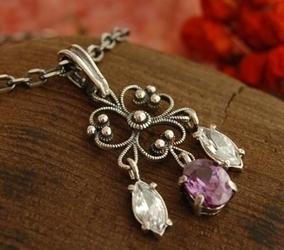 Ranga - srebrny wisiorek z ametystem i kryształkami