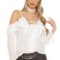 Bluzka z falbankami i gipiurową koronką w kolorze białym