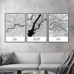 Zestaw trzech plakatów - megacities , wymiary - 50cm x 70cm 3 sztuki, kolor ramki - biały