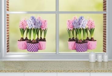 Statyczne naklejki na okno kwiaty w kolorowych doniczkach hiacytny
