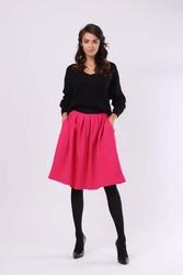 Ciemno różowa spódnica z koła z kieszeniami