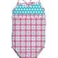 Strój kąpielowy treningowy różowo-błękitna kratka