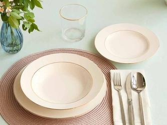 Serwis  zestaw obiadowy dla 6 osób porcelana mariapaula nova ecru złota linia 18 elementów