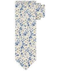 Beżowy krawat z kwiatowym wzorem profuomo