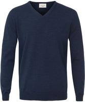 Sweter  pulower v-neck z wełny z merynosów w kolorze jeansu xxxl