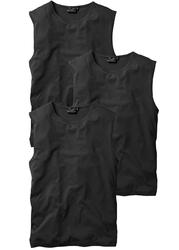 Shirt bez rękawów 3 szt. bonprix czarny + czarny + czarny
