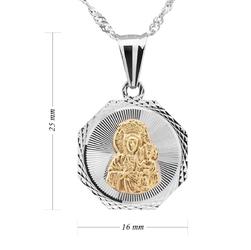 Pozłacany medalik matka boska częstochowska srebro pr. 925 grawer
