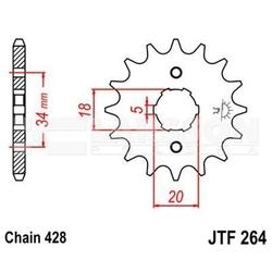Zębatka przednia jt f264-14, 14z, rozmiar 428 2200672 honda xr 125