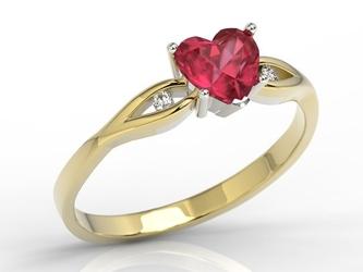Pierścionek z żółtego i białego złota z czerwonym topazem w kształcie serca i cyrkoniami lp-71zb
