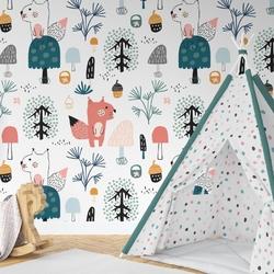 Tapeta dziecięca - forest squirrel , rodzaj - próbka tapety 50x50cm
