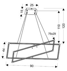 Lampa wisząca prostokątne ramki led 44x90 cm kseros apeti a0033-321