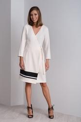 Kremowa sukienka kopertowa – sukienka wizytowa cala