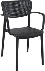 Krzesło loft z podłokietnikami czarne - czarny