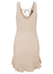 Sukienka plażowa szydełkowa bonprix beżowy