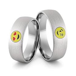 Obrączki ślubne z białego złota palladowego emotki emalia - au-988