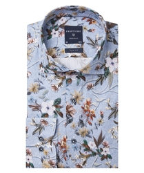 Niebieska koszula profuomo w kwiecisty wzór slim fit 40