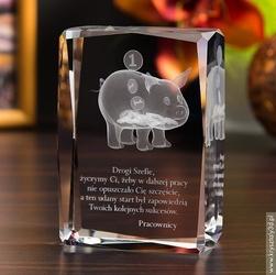 Świnka skarbonka 3d • personalizowany kryształ 3d • grawer 3d gratis
