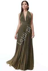 Plisowana sukienka z połyskującymi złotymi drobinkami goddiva 2496