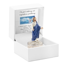 Szkatułka jezus pamiątka chrztu chrzest dedykacja - niebieska chłopiec
