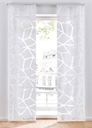 Firana panelowa we wzór z przycinanymi brzegami 1 szt. bonprix biały