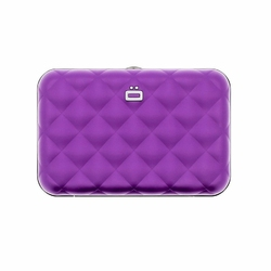 Portfel Aluminiowy Ogon Designs Quilted Button Purple RFID protect