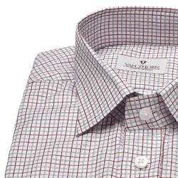 Biała koszula van thorn w niebieską i czerwoną kratę z półwłoskim kołnierzykiem 49