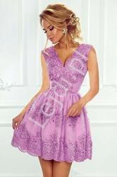 Krótka koronkowa sukienka wieczorowa w kolorze lawendowym - carmen