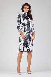 Elegancka dopasowana kwiatowa sukienka z golfem