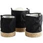 Madam stoltz ::  zestaw trzech koszy materiałowych czarnych ze słomianym wykończeniem