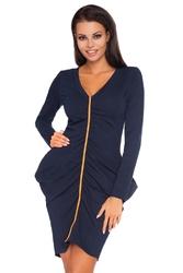 Granatowa marszczona sukienka z kontrastowym pionowym paskiem