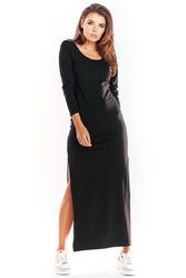 Czarna długa dzianinowa sukienka z rozcięciami na bokach