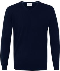 Sweter  pulower v-neck z wełny z merynosów granatowy l
