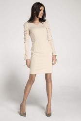Beżowa ołówkowa sukienka z marszczeniami na rękawach