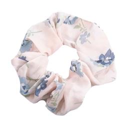 Gumka do włosów frotka kwiaty scrunchies różowa