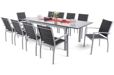 Zestaw ogrodowy stół + 10 krzeseł Vesa srebrny