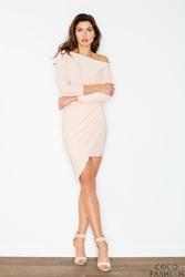 Jasno Różowa Asymetryczna Sukienka z Szerokim Dekoltem
