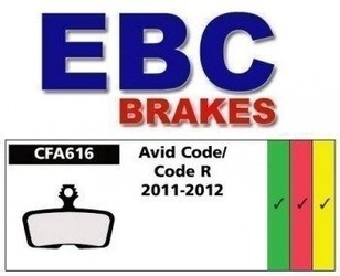 Klocki hamulcowe rowerowe ebc organiczne wyczynowe avid elixir, code, code r