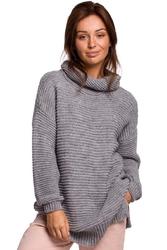 Damski sweter oversize z golfem  - szary