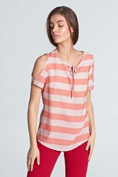 Pomarańczowa bluzka wiązana pod szyją z odkrytymi ramionami