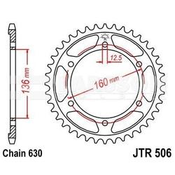 Zębatka tylna stalowa jt r506-40, 40z, rozmiar 630 2302316 kawasaki gpz 1000