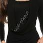 Czarny sweter z cyrkoniową taśma i dekoltem typu woda, 30 wełna + 26 sztuczny jedwab , 8242