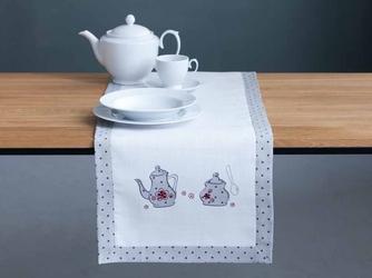 Bieżnik na stół haftowany altom design biały  kropki  czajniczki 40 x 150 cm